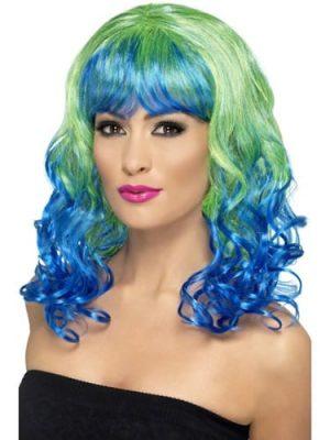 Divatastic Curly Green & Blue Wig