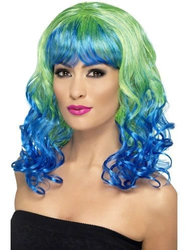Divatastic Curly Green & Blue Wig