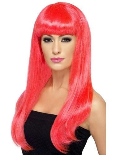 Babelicious Long Neon Pink Wig