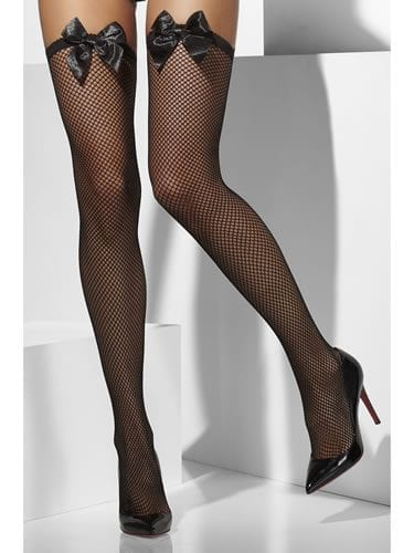 Black Fishnet Stockings with Black Bow