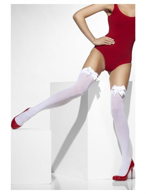 White Thigh High Stockings with White Bows