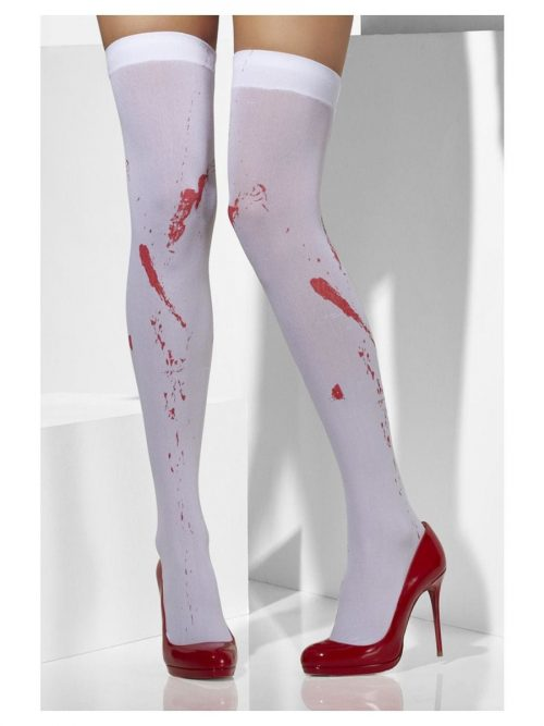 White Blood Stained Thigh High Stockings-0