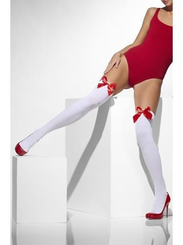 White Thigh High Stockings with Red Bows