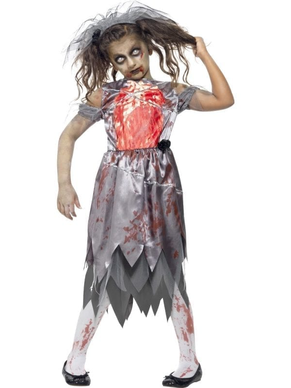 Zombie Bride Children's Halloween Fancy Dress Costume-0