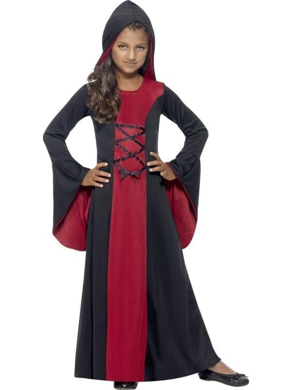 Hooded Vamp Children's Halloween Fancy Dress Costume