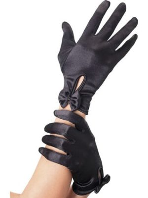 Short Black Gloves with Bow