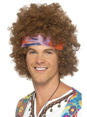 Hippy Afro Wig Brown