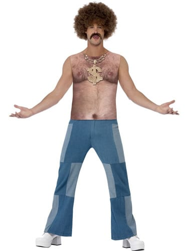 Realistic 70's Hairy Chest Top Men's Fancy Dress Costume
