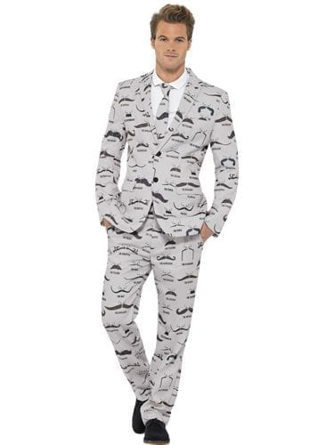 Moustache Standout Suit Men's Fancy Dress Costume