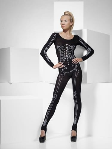 Fever Skeleton Bodysuit Ladies Halloween Fancy Dress Costume