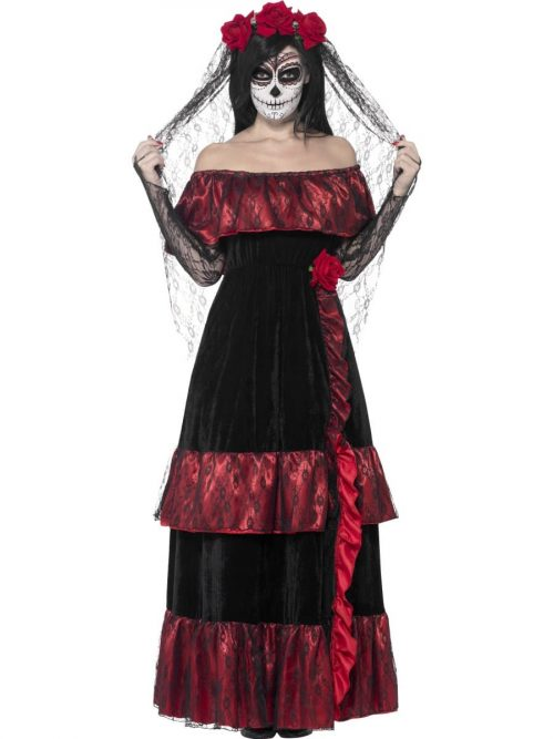 Day of the Dead Bride Ladies Halloween Fancy Dress Costume