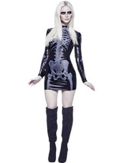 Fever Miss Whiplash Skeleton Ladies Halloween Fancy Dress Costume