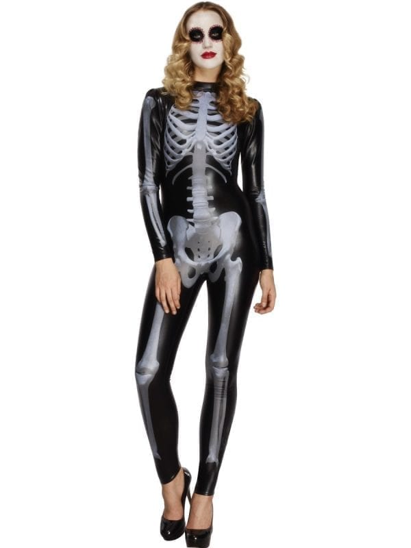 Fever Skeleton Catsuit Ladies Halloween Fancy Dress Costume