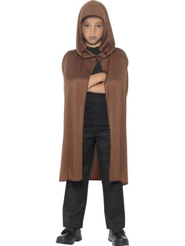 Brown Hooded Cape Children's Fancy Dress Costume