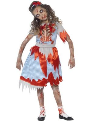 Zombie Country Girl Childrens Halloween Fancy Dress Costume