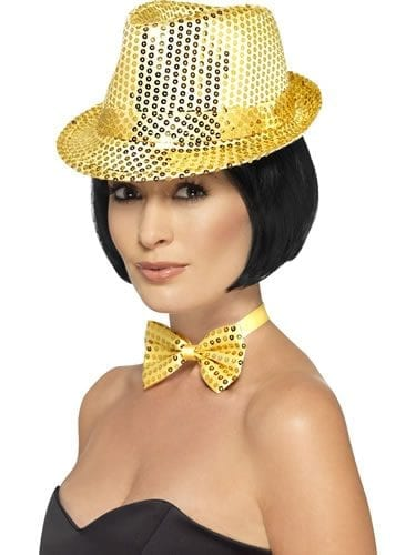 Sequin Trilby Hat Gold
