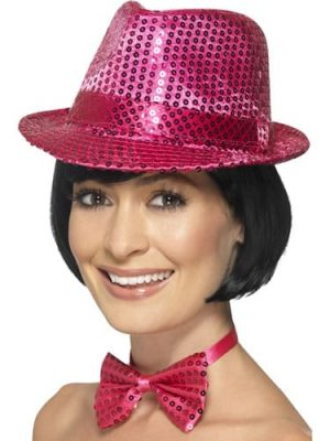 Sequin Trilby Hat Pink