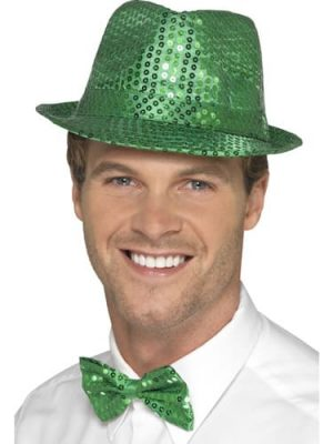 Sequin Trilby Hat Green