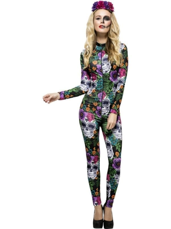 Fever Day of the Dead Catsuit Ladies Halloween Fancy Dress Costume