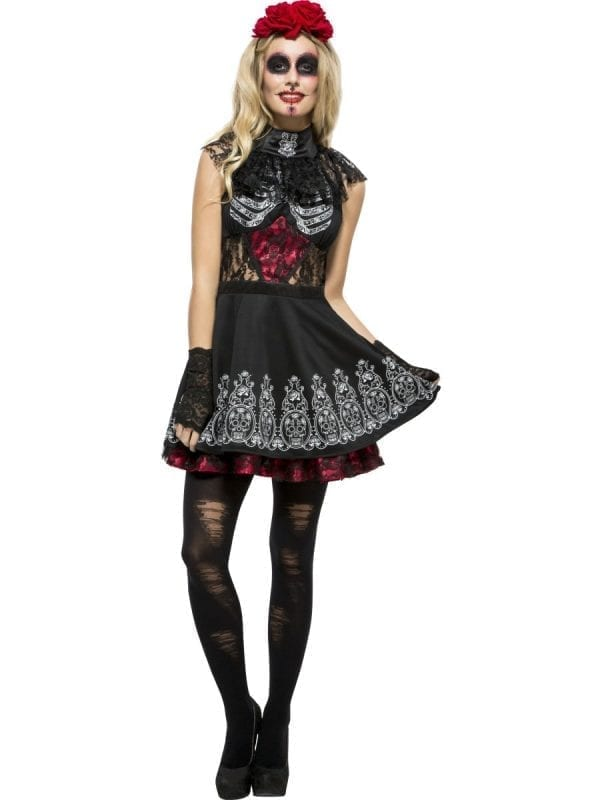 Fever Day of the Dead Dress Ladies Halloween Fancy Dress Costume