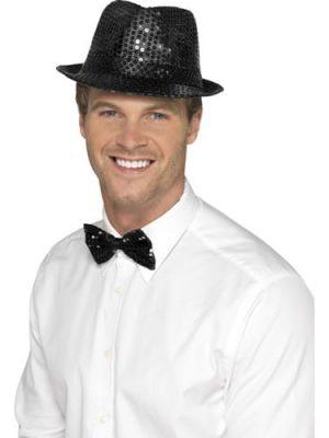 Sequin Trilby Hat Black