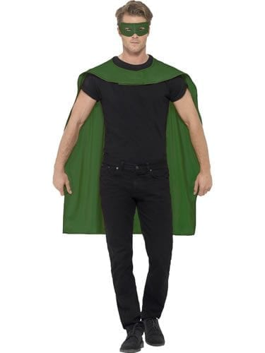Green Superhero Cape Unisex Fancy Dress Costume