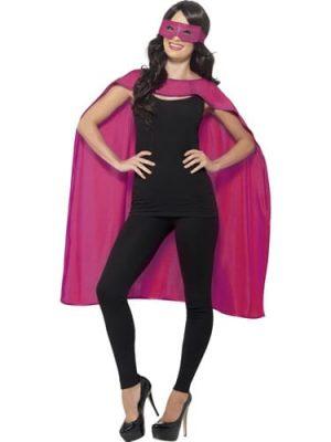 Pink Superhero Cape Unisex Fancy Dress Costume with Eyemask
