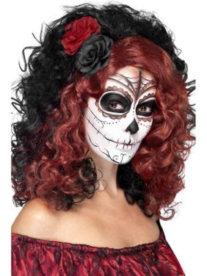 Day of the Dead Black/Red Wig with Roses