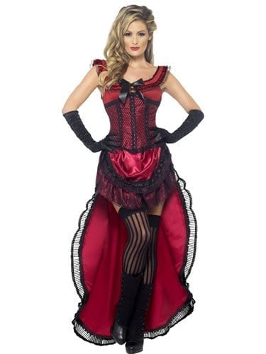 Authentic Western Brothel Babe Burgundy Ladies Fancy Dress Costume