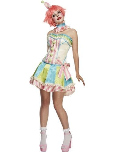 Fever Boutique Vintage Clown Ladies Fancy Dress Costume