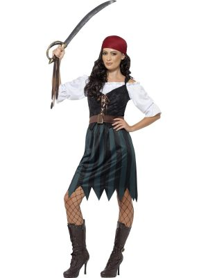 Pirate Deckhand Ladies Fancy Dress Costume