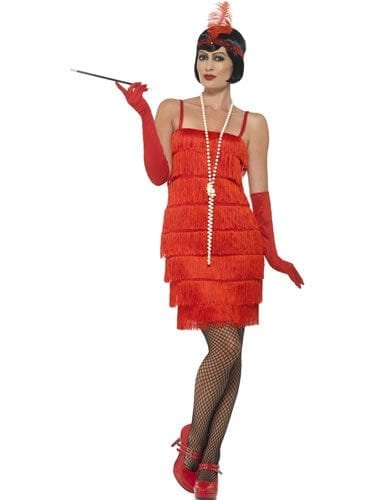 Red Flapper Short Ladies Fancy Dress Costume