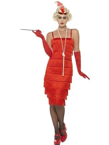 Red Flapper Long Ladies Fancy Dress Costume