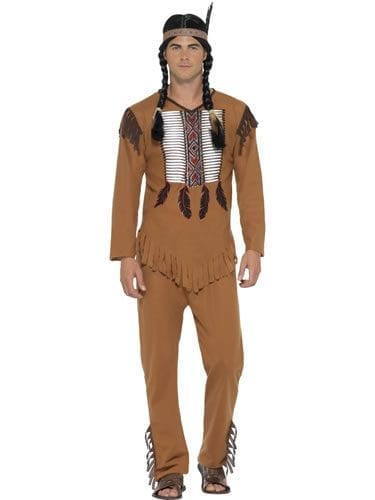 Native Western Warrior Men's Fancy Dress Costume