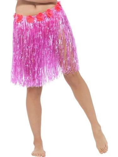 Hawaiian Hula Skirt Pink with Flowers