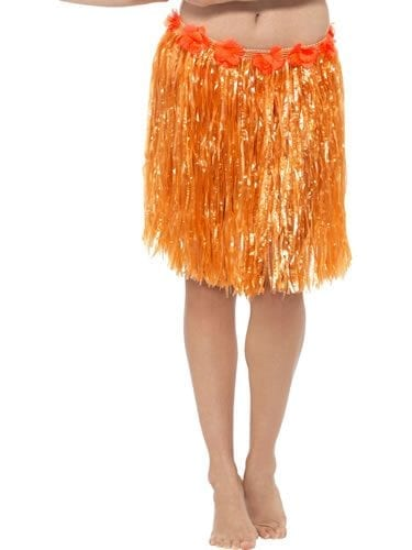 Hawaiian Hula Skirt Orange with Flowers