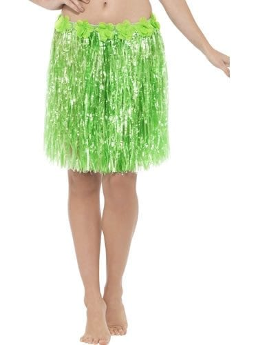 Hawaiian Hula Skirt Green with Flowers