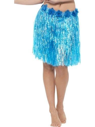 Hawaiian Hula Skirt Blue with Flowers