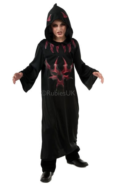 Black/Red Devil Robe Children's Halloween Fancy Dress Costume