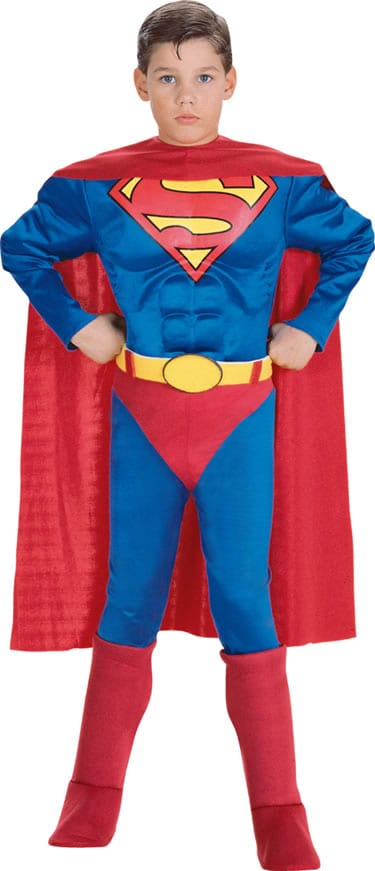 Superman Musclechest Super Hero Childrens Fancy Dress Costume