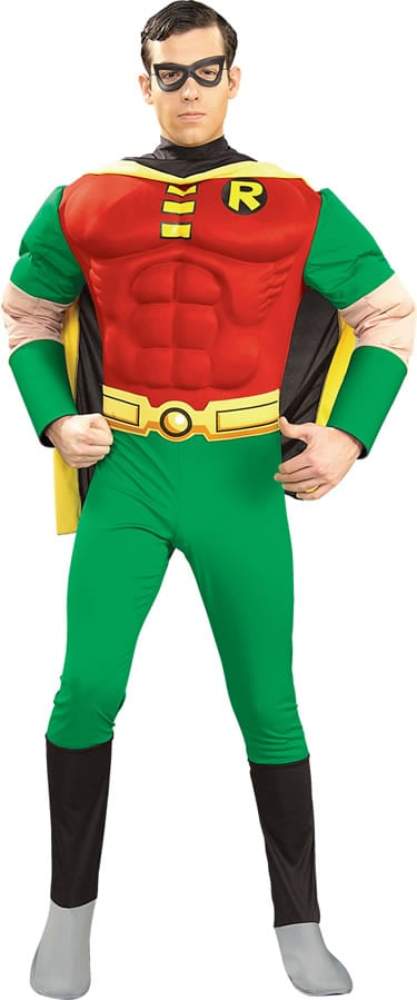 Deluxe Muscle Chest Robin Superhero Mens Fancy Dress Costume