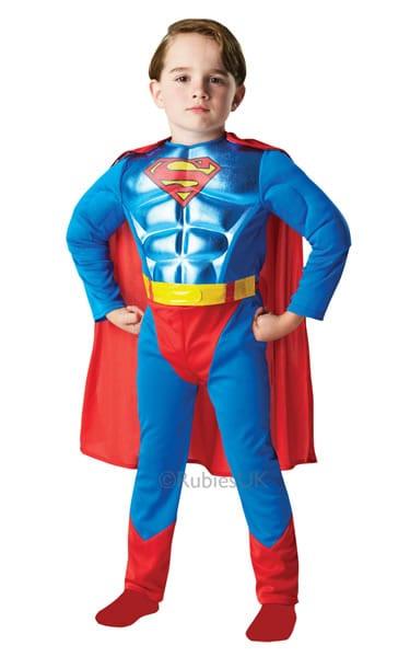 Superman Metallic Chest Super Hero Childrens Fancy Dress Costume