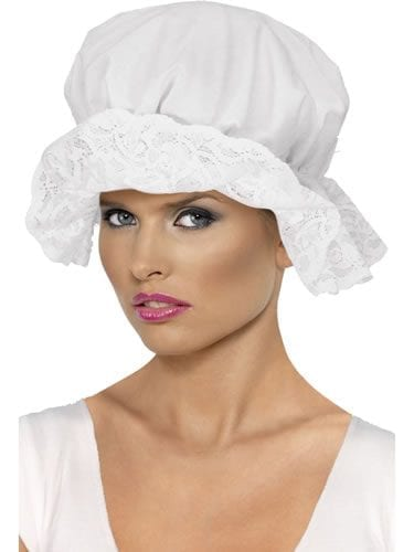 White Cotton Mop Cap