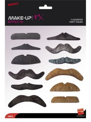 Assorted 12 pack Party Moustaches