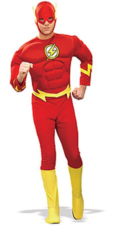 The Flash Deluxe Musclechest Super Hero Mens Fancy Dress Costume