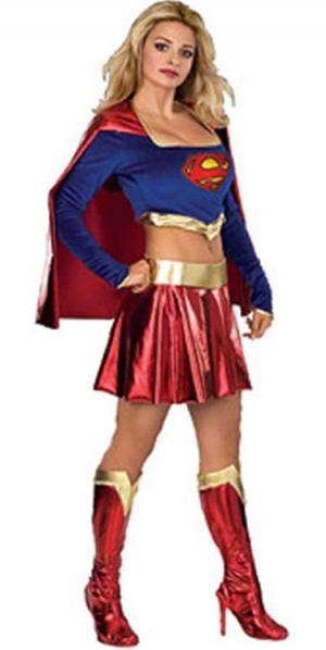 Supergirl 2 Piece Super Hero Ladies Fancy Dress Costume