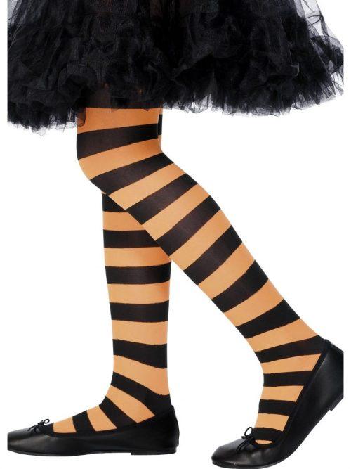 Orange & Black Striped Tights 8-12 Years