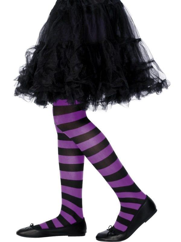 Purple & Black Striped Tights 8-12 Years