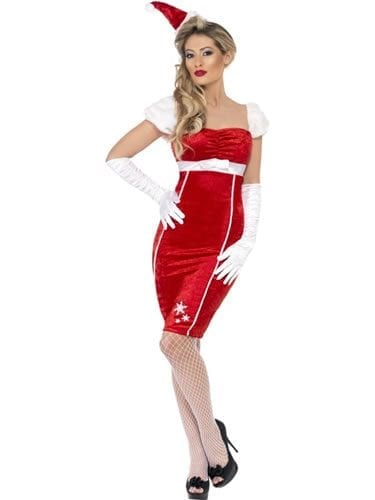 Pin Up Miss Santa Ladies Christmas Fancy Dress Costume (DISC)