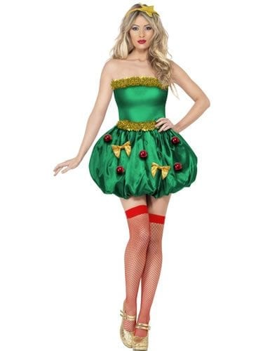 Fever Collection Festive Tree Christmas Ladies Fancy Dress Costume (DISC)